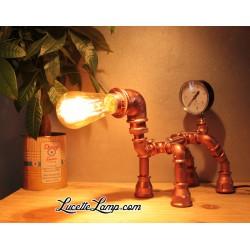 Lampe Chien Manomètre Cuivre